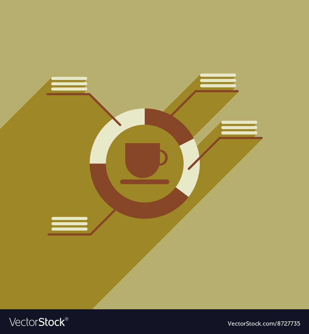 Flat web icon with long shadow coffee infographics