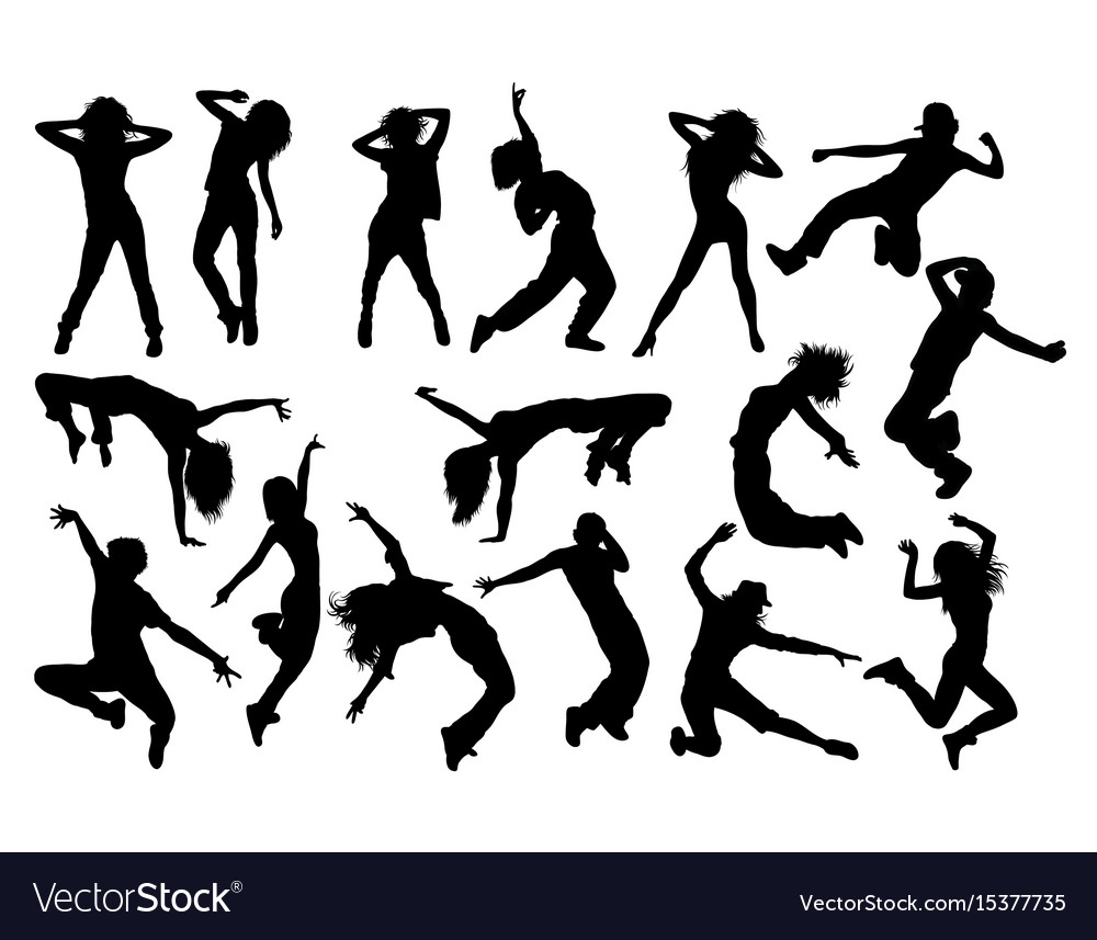 Fun hip hop sexy dancer silhouettes