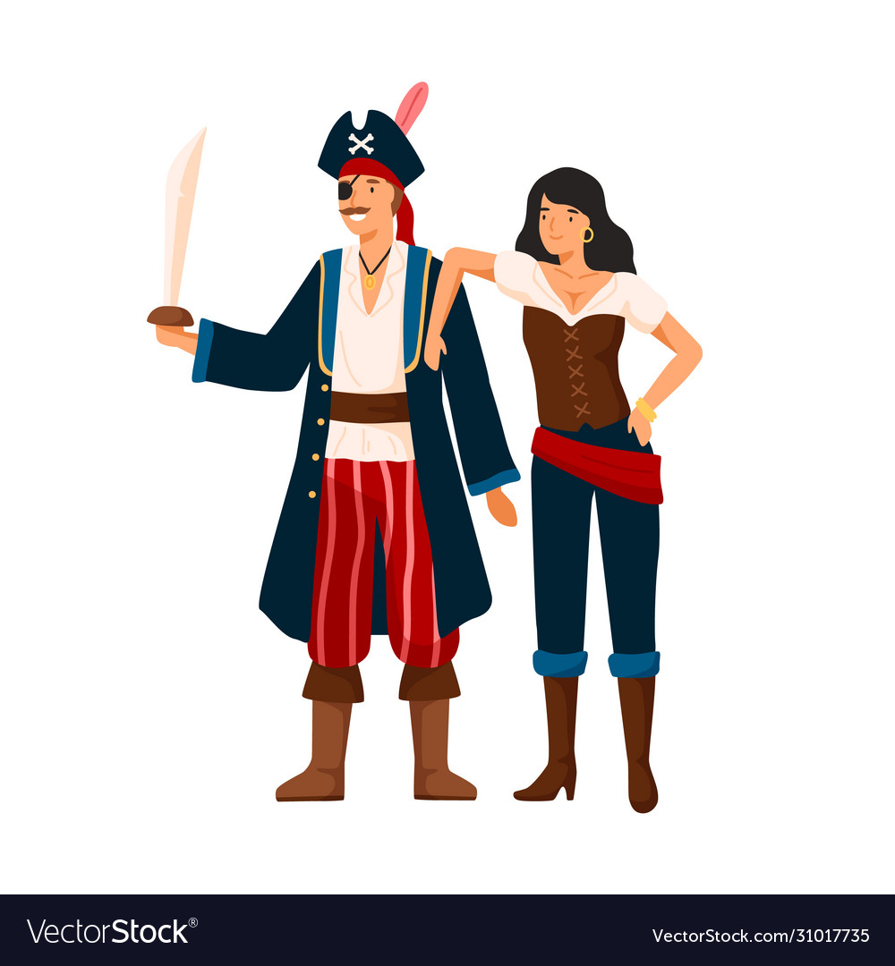 Funny pirate couple at costume party flat