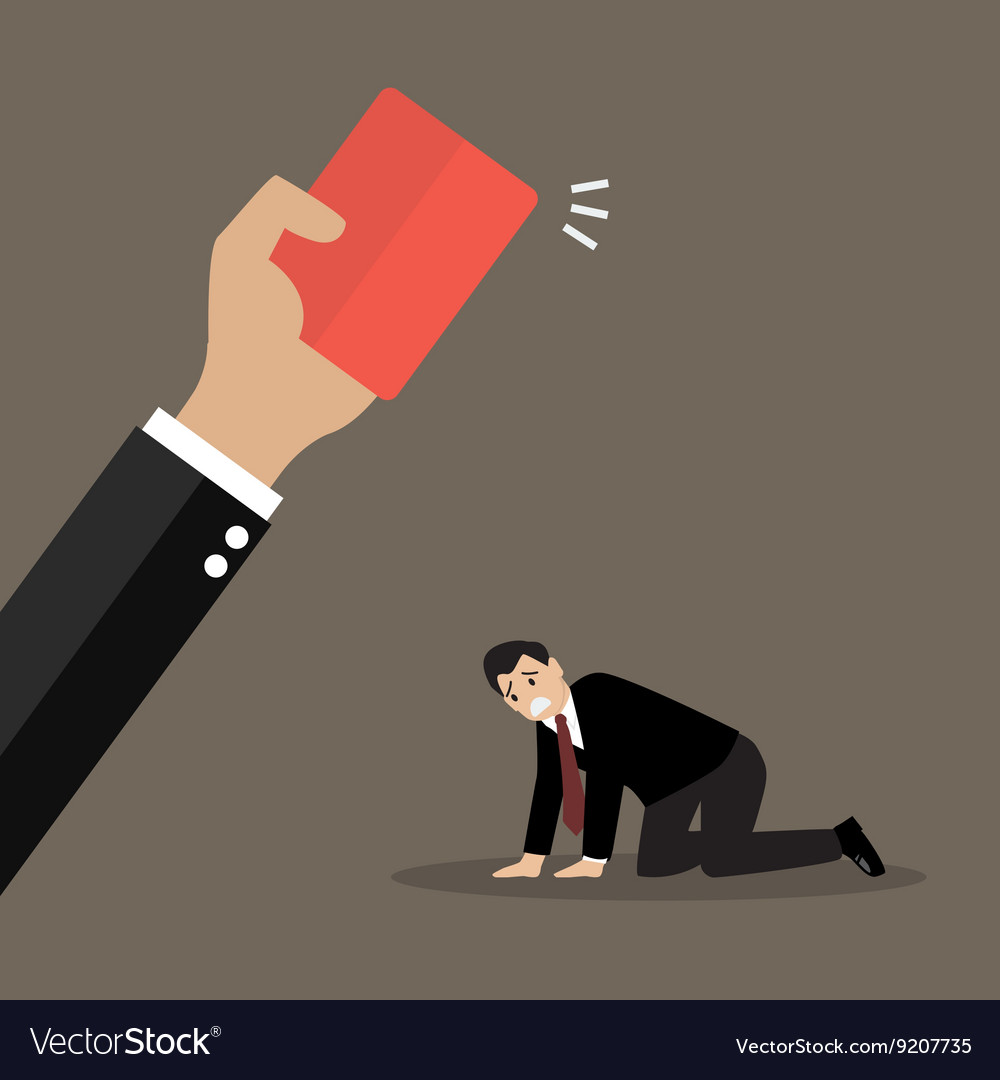 Hand of boss showing a red card to his employee