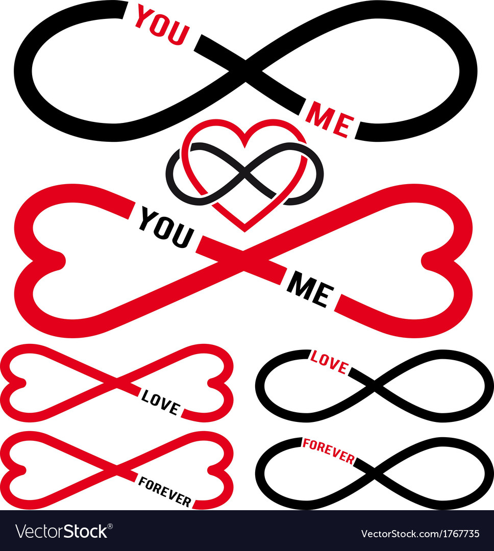 Never Ending Love Red Infinity Hearts Set Vector Image