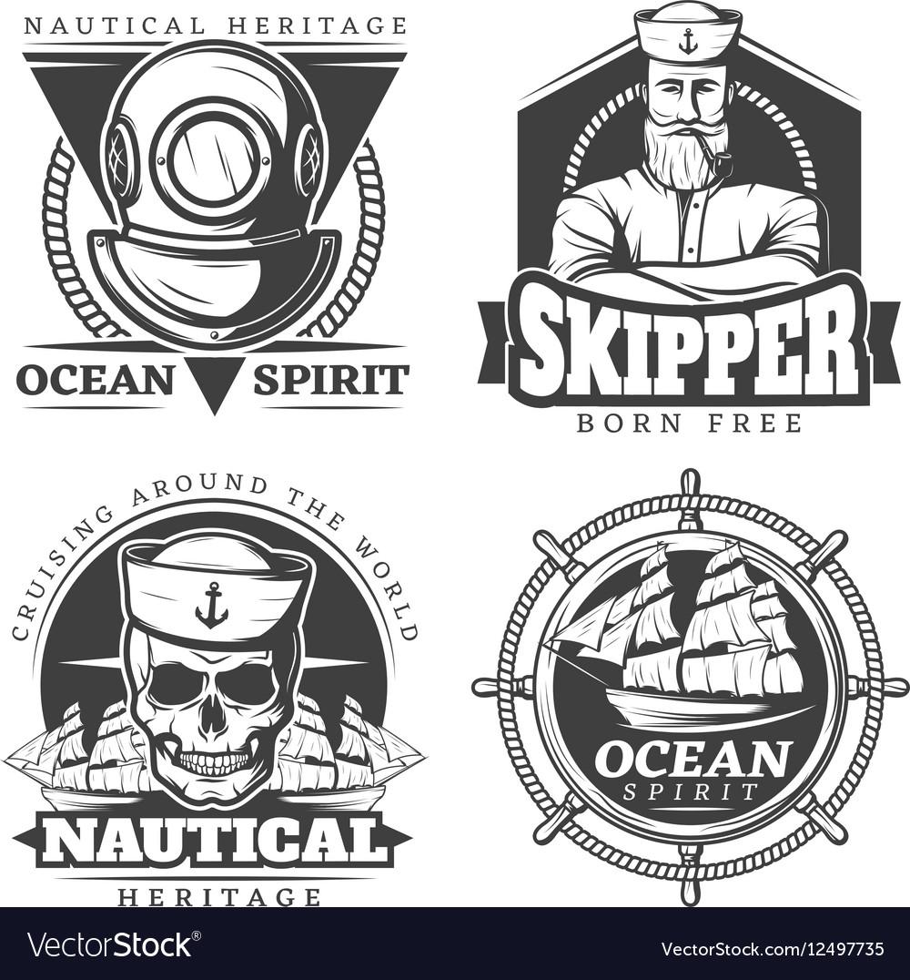 Old Tattoo Sailor Naval Label Set