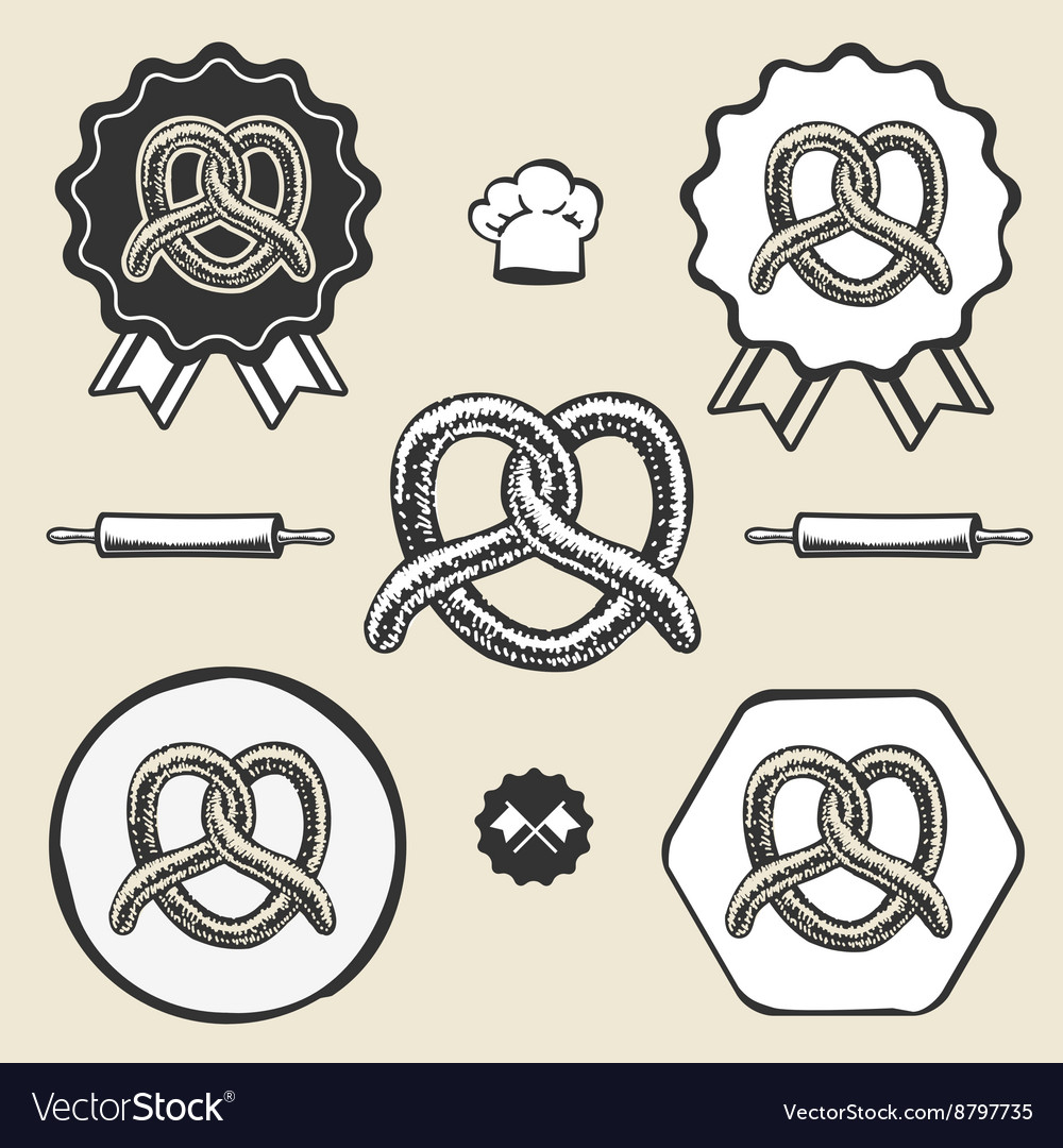 Pretzel bakery vintage symbol emblem label