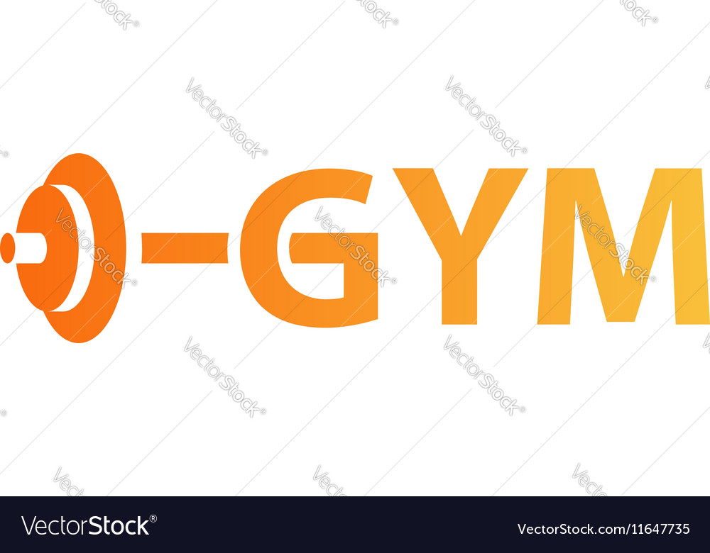 Sport gym logo with barbell