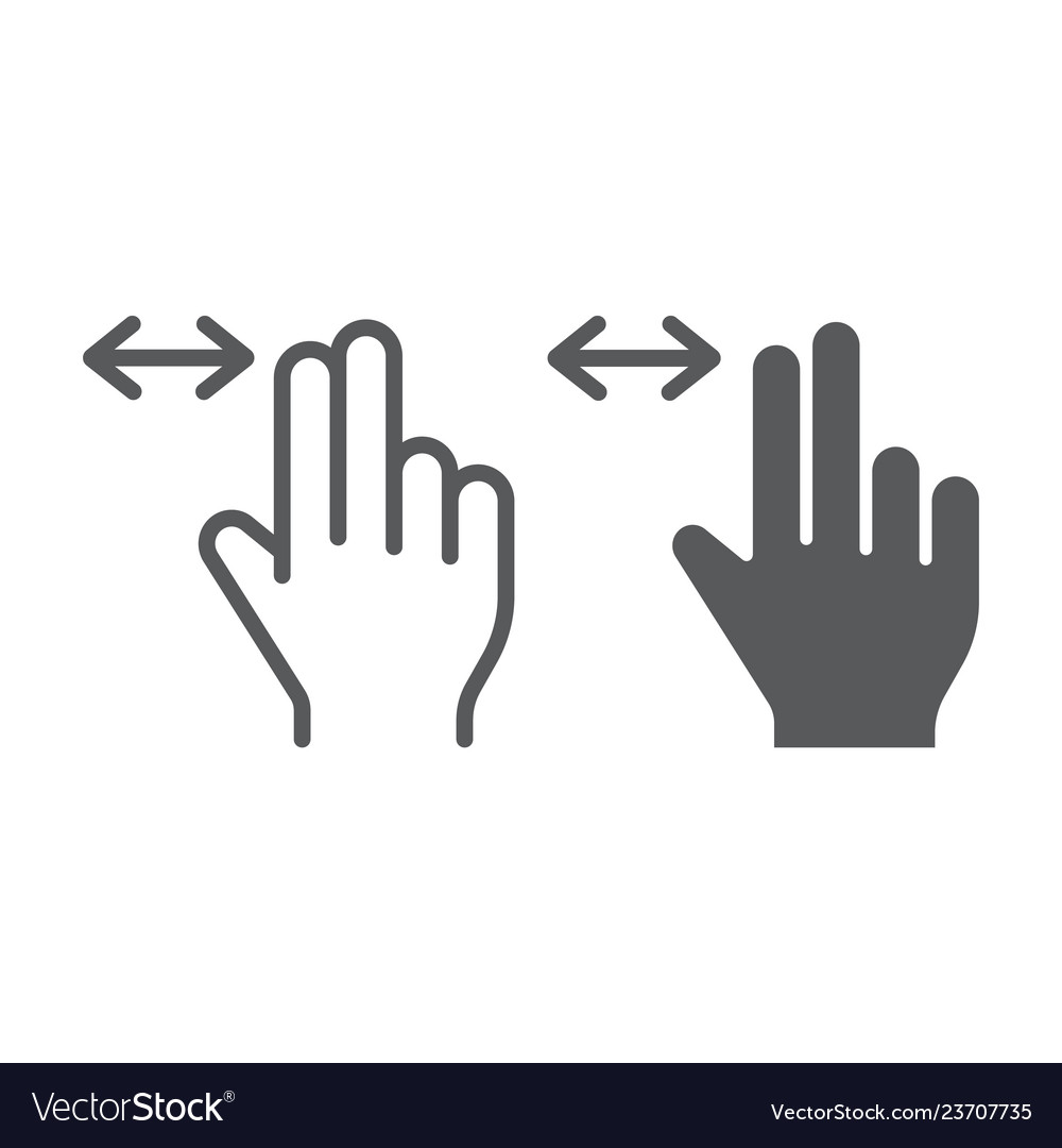 Two finger horizontal scroll line and glyph icon Vector Image