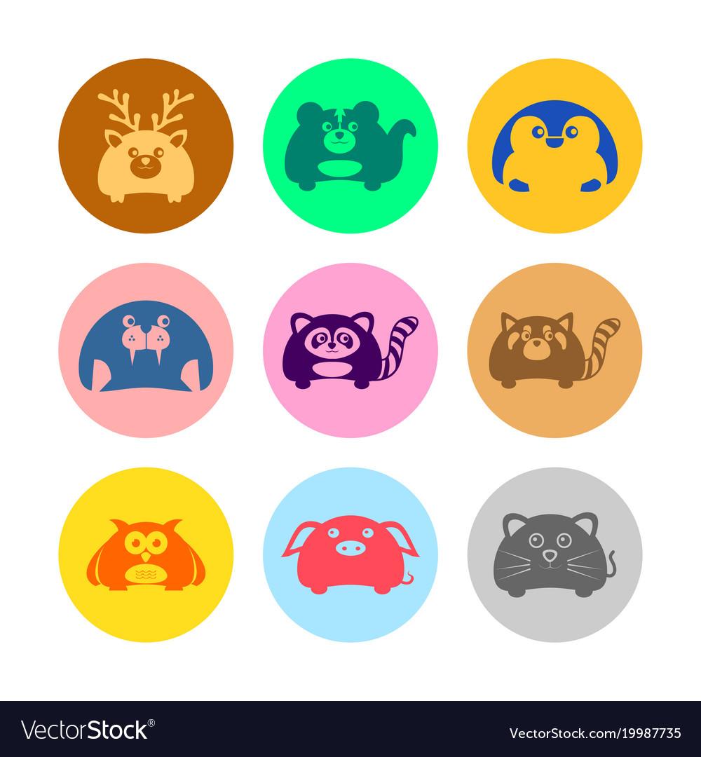 Various cute animal icon set