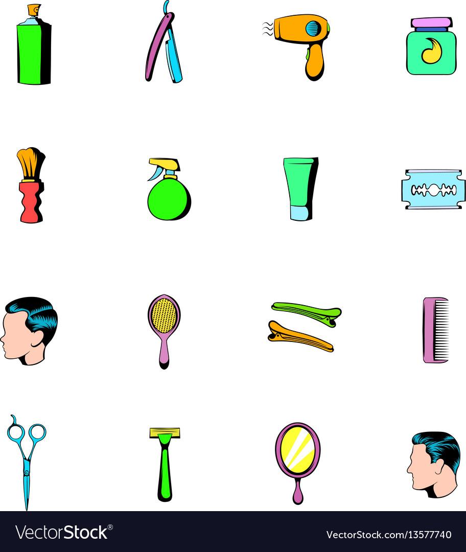 Barber shop elements icons set cartoon