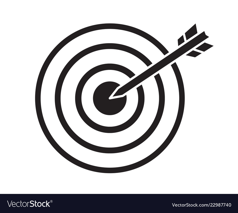 Black target with arrow dart aim in the center