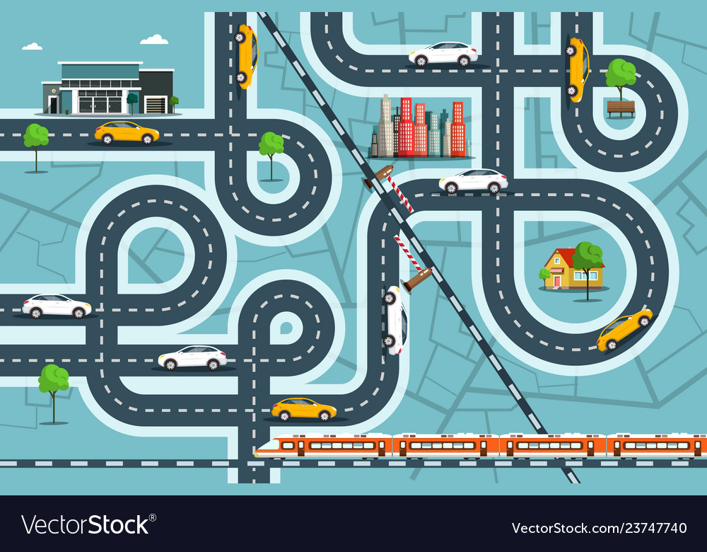 City map with cars on roads top view town life