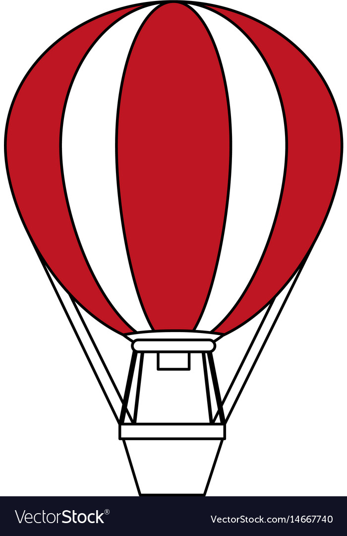 Color silhouette image hot air balloon vector image