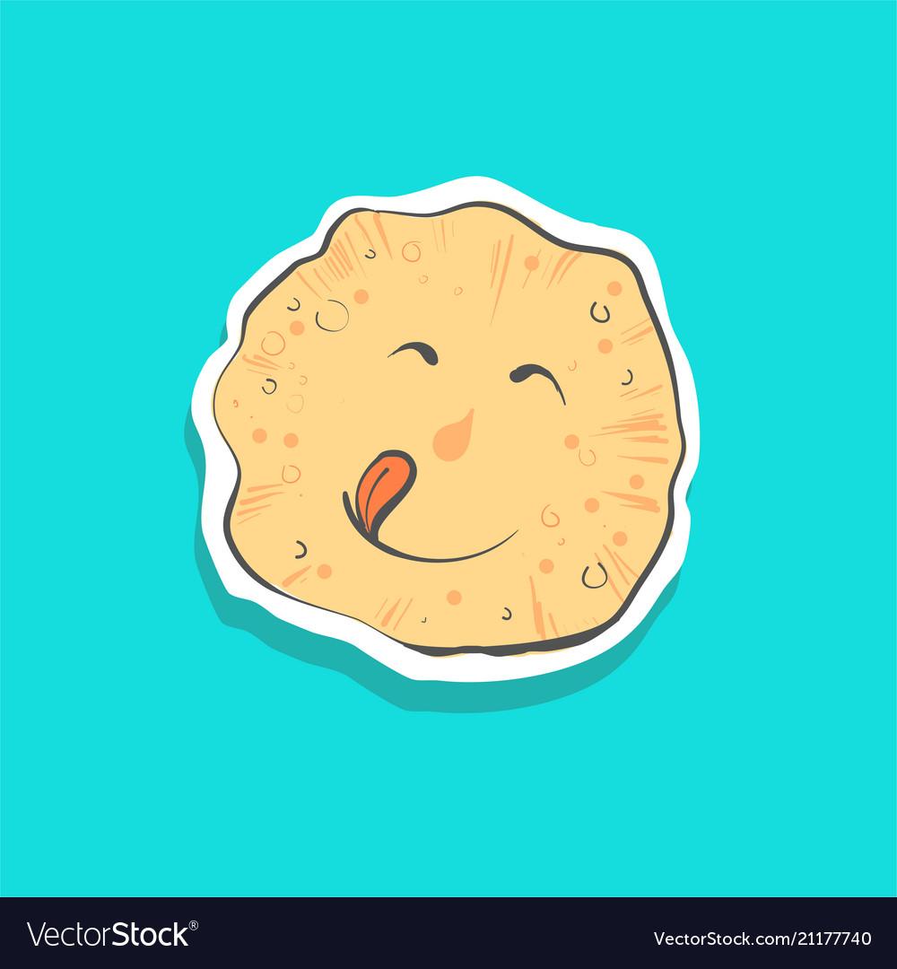 Cute happy pancake with toungue sticker fashion