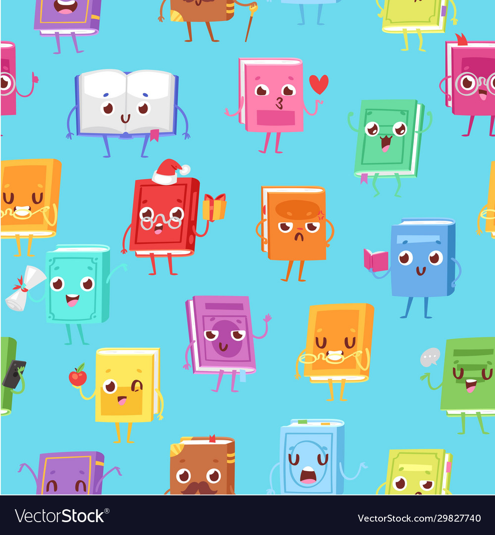 Cute kawaii books seamless pattern for back to