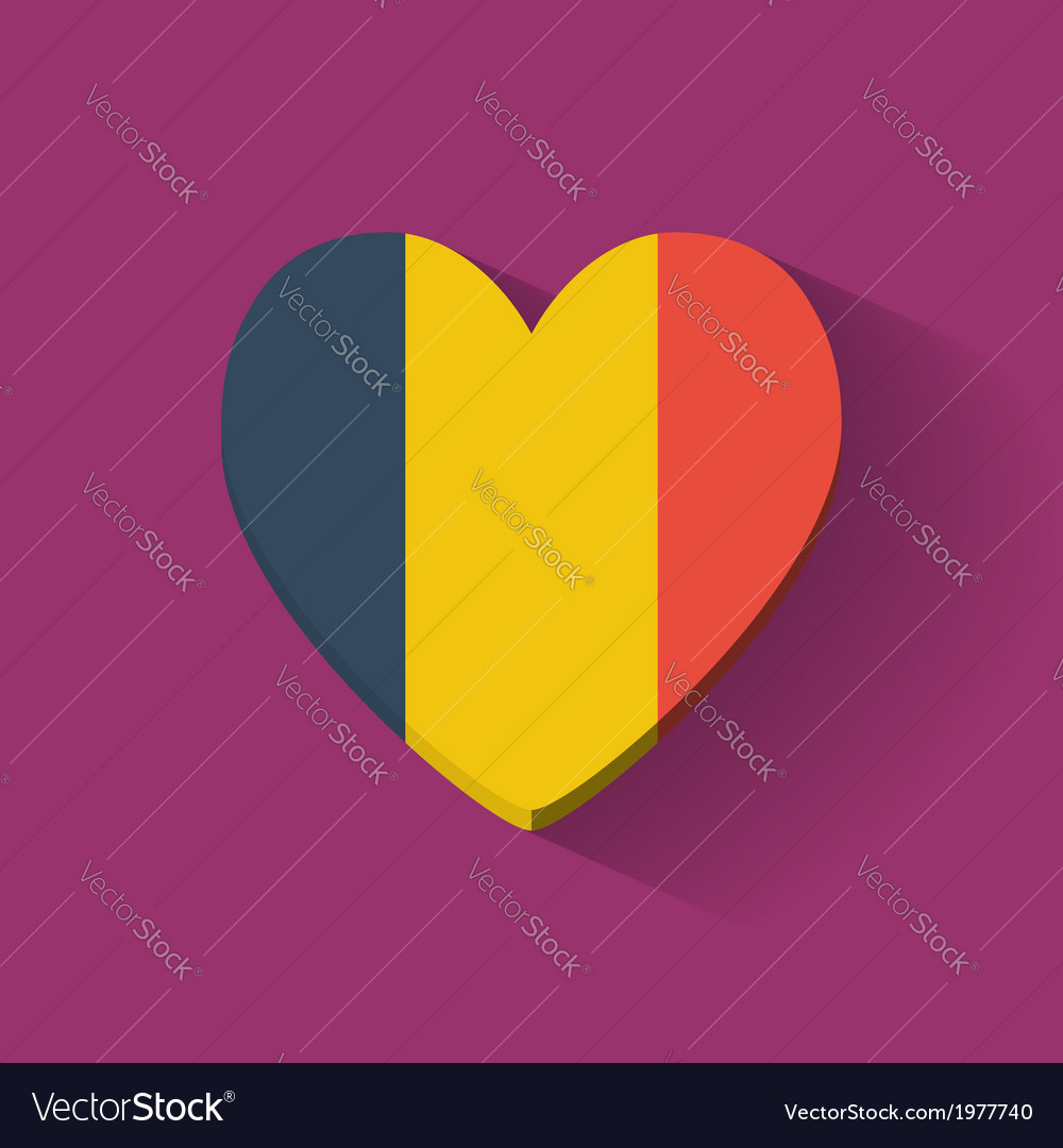 Heart-shaped icon with flag of Romania