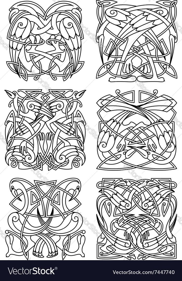 Heron stork and crane celtic ornaments vector image