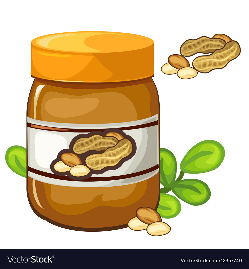 Jar of peanut butter on a white background