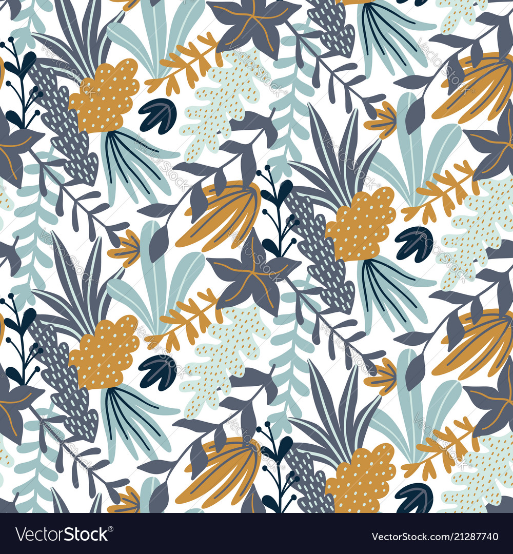 Modern seamless pattern with leaves and floral