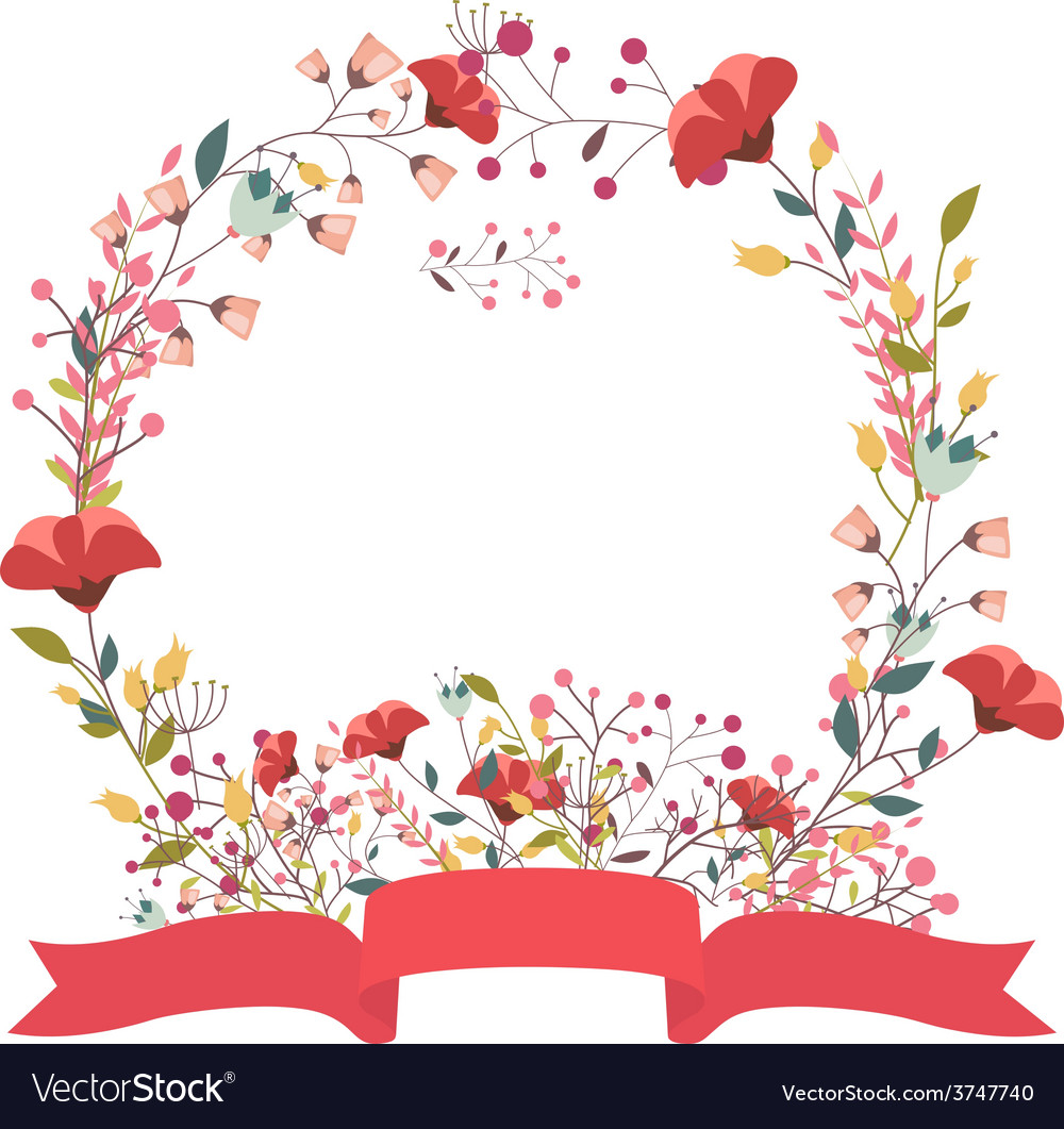 retro floral frame and ribbon royalty free vector image