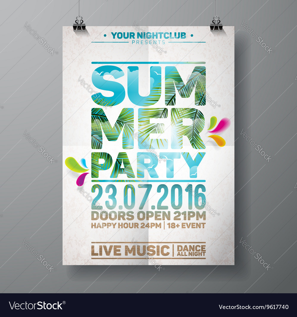 Summer Beach Party Flyer Design with palm leaves