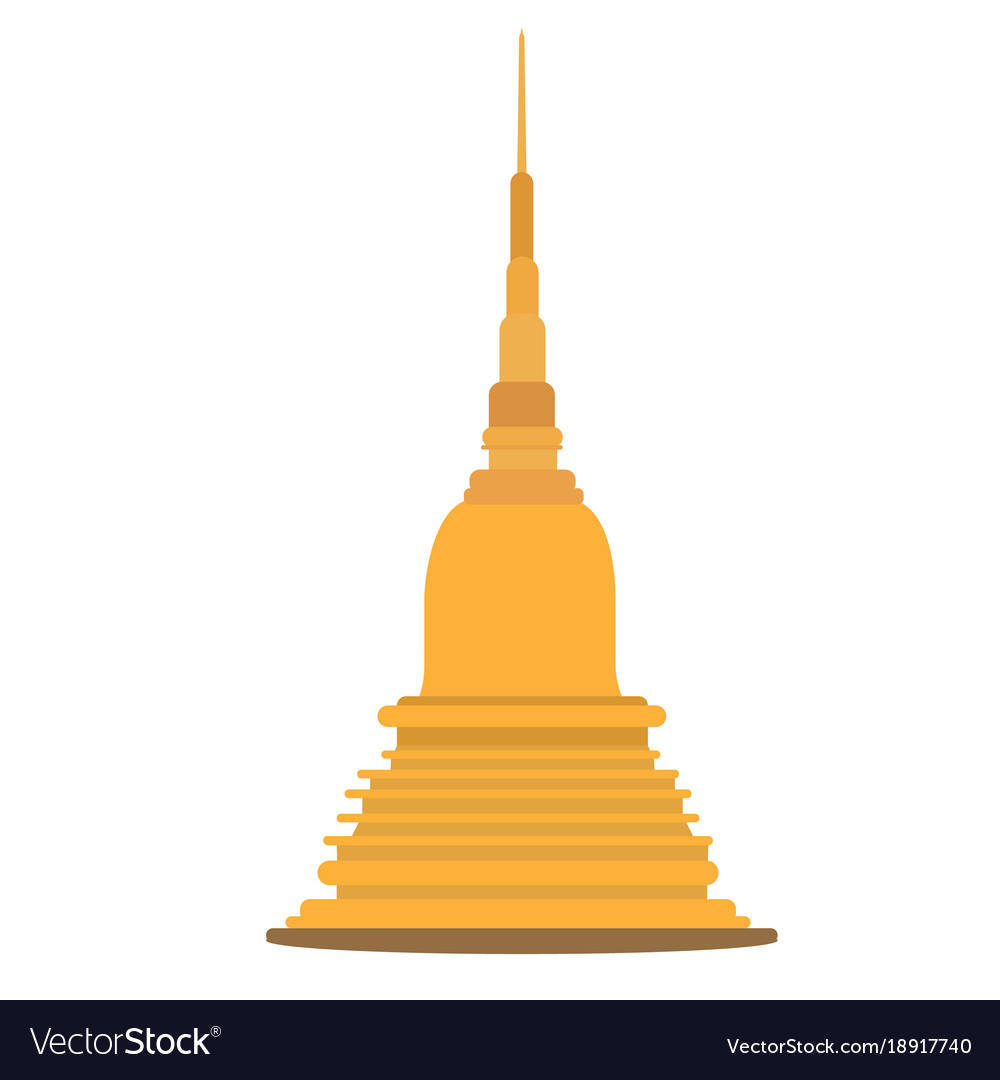 Thai golden pagoda building of buddhism