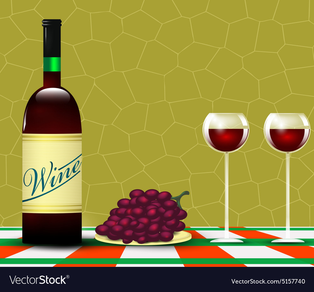 Wine and bunch of grapes vector image