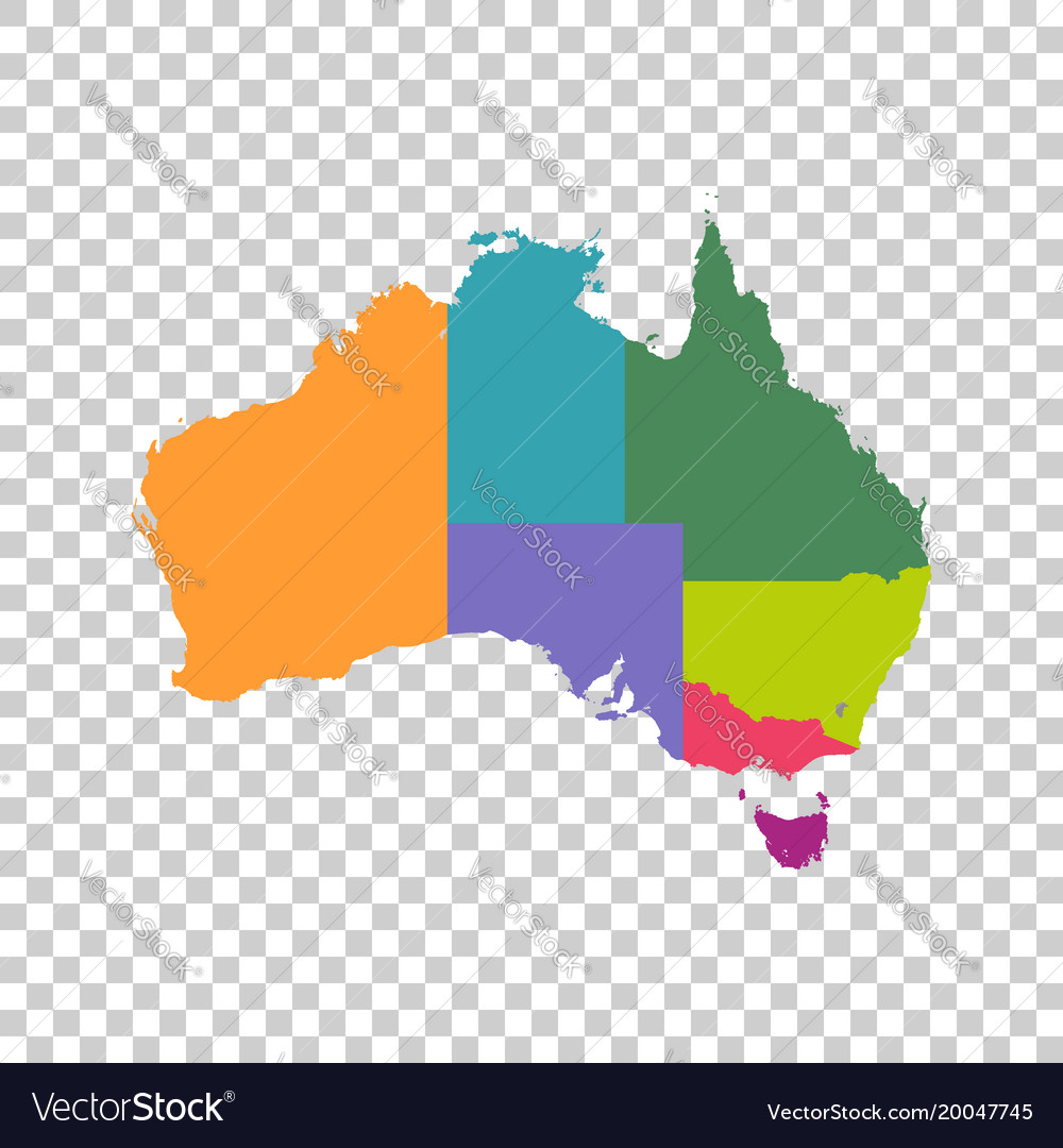 Australia map color with regions flat