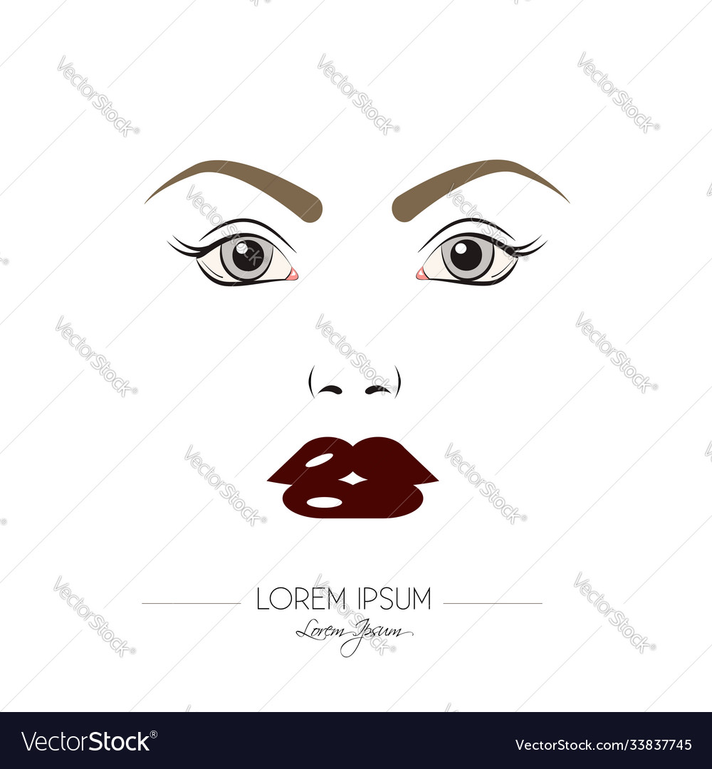 Beautiful woman face with vinous lips isolated