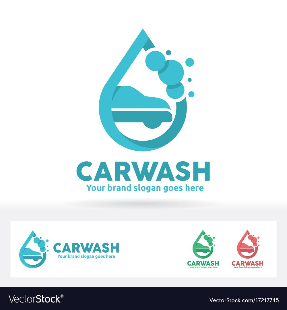 Car wash logo car shampoo bubble and water drop