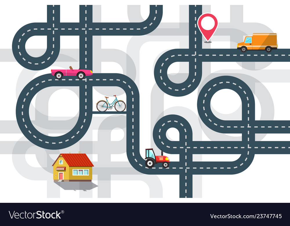 City road map plan with cars and pin flat design