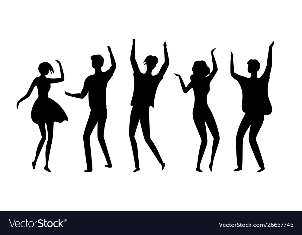 Disco dancers silhouettes people in nightclub