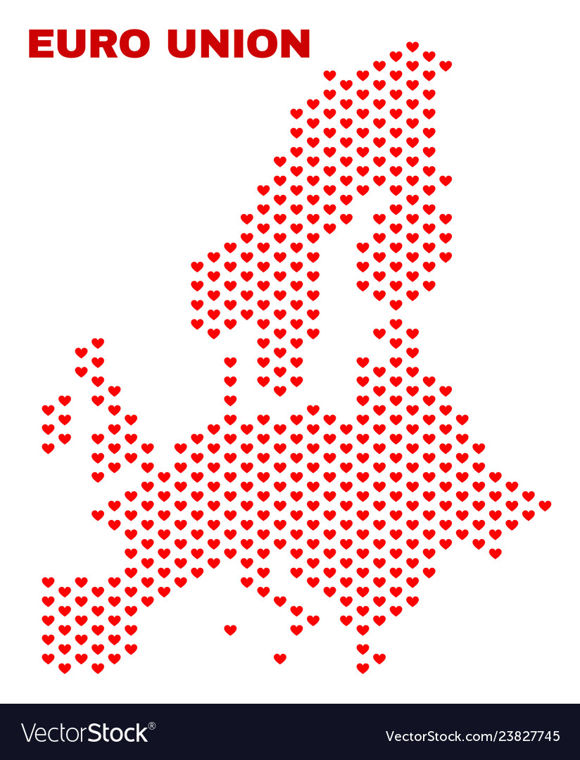 Euro union map - mosaic of heart hearts