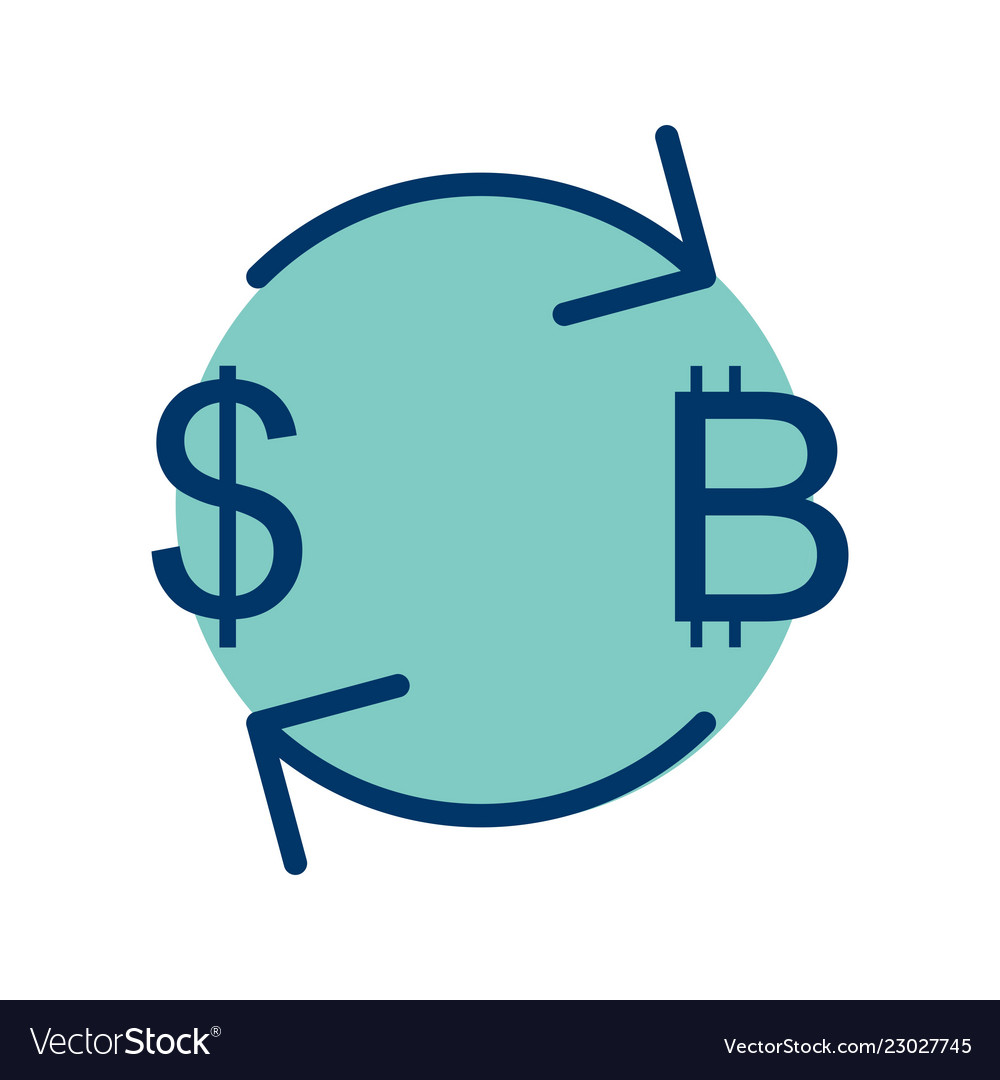 Exchange Bitcoin With Dollar Icon Vector Image