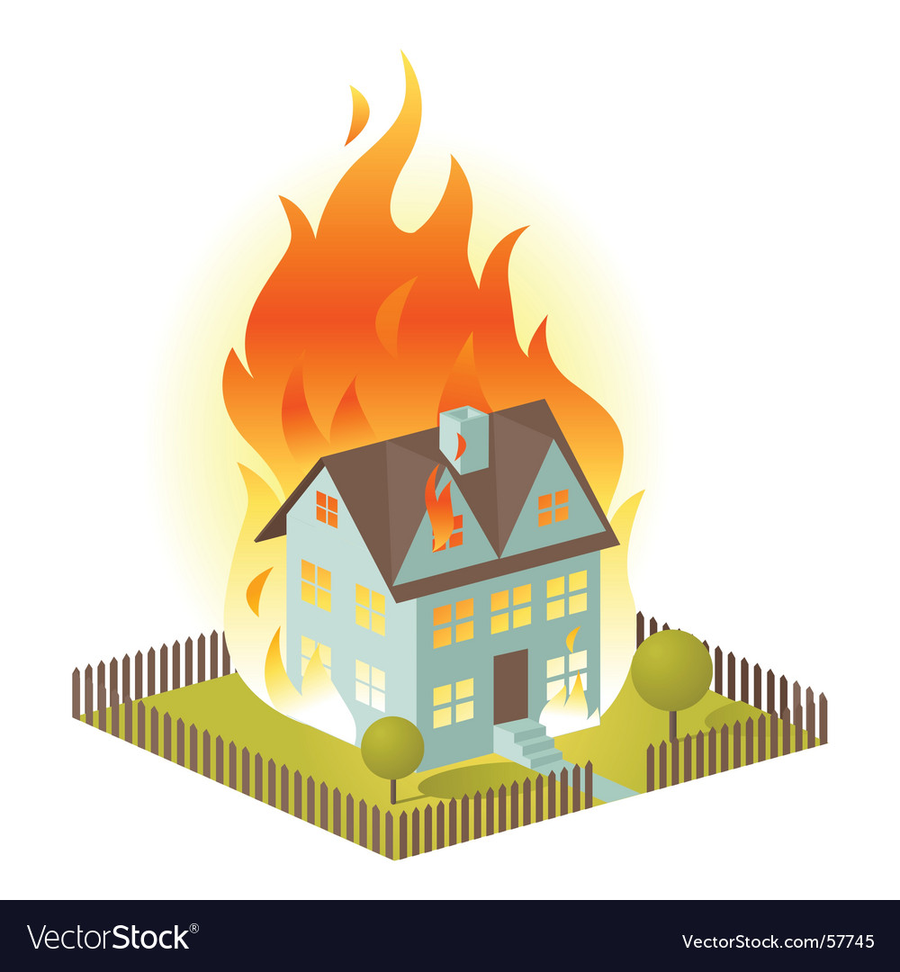 House on fire vector image