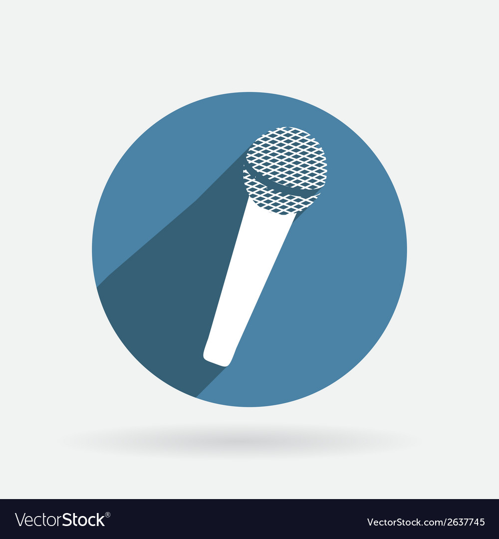 Microphone Circle blue icon with shadow