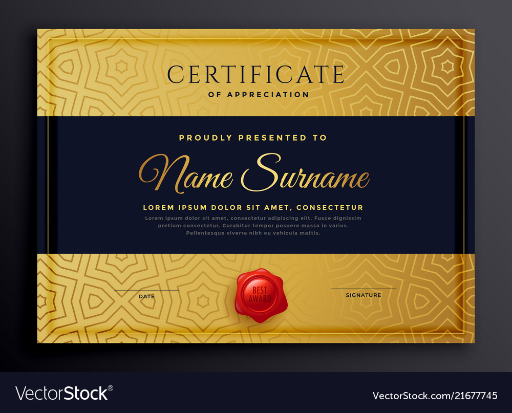 Premium Golden Certificate Template Design Vector Image