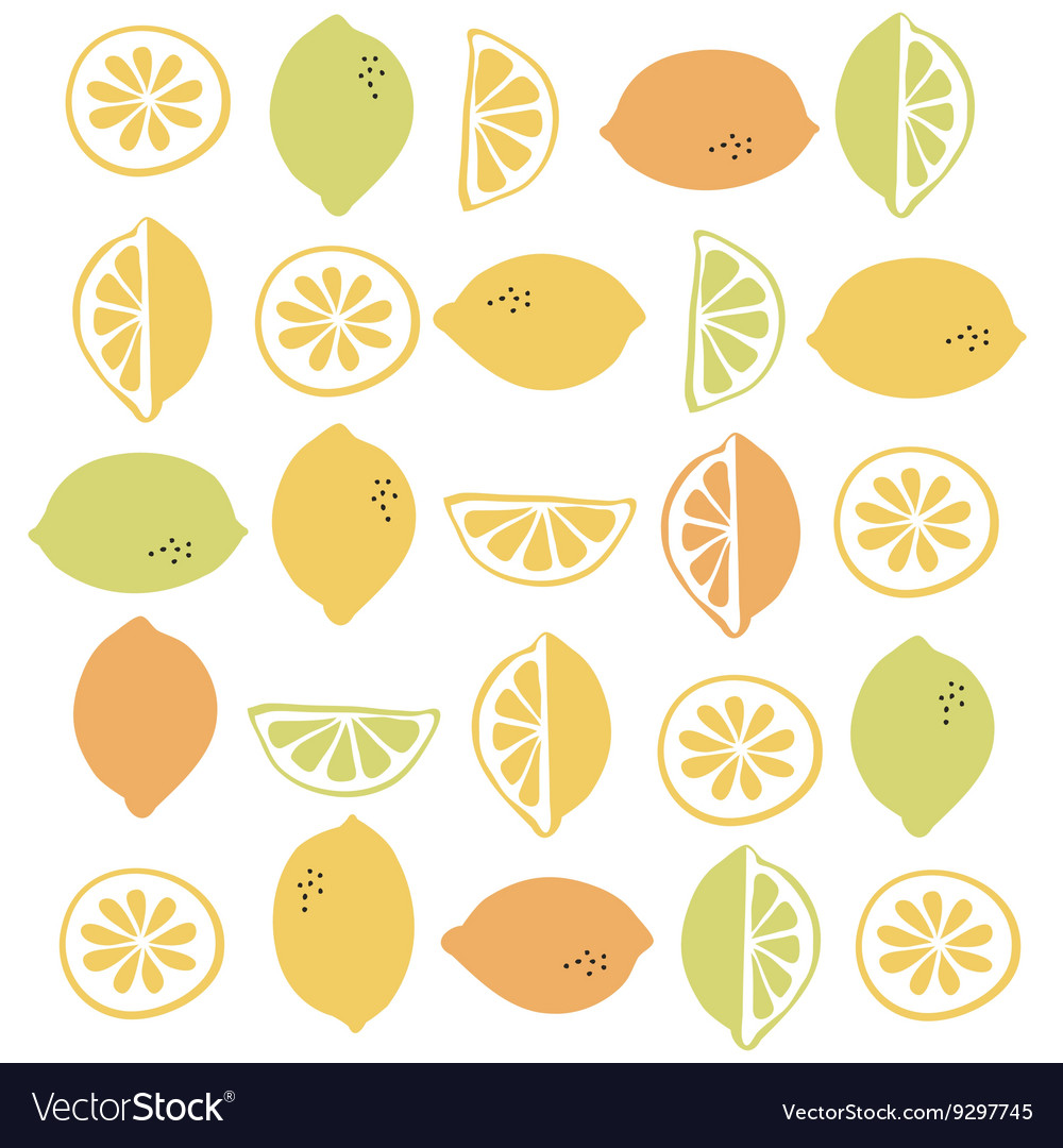 Seamless pattern with citrus fruit clices