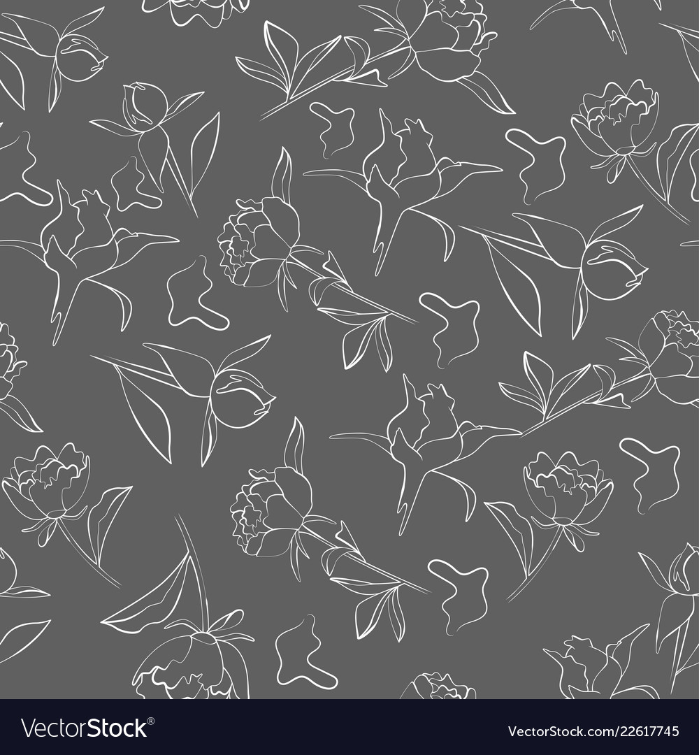 Seamless pattern with peony flower in