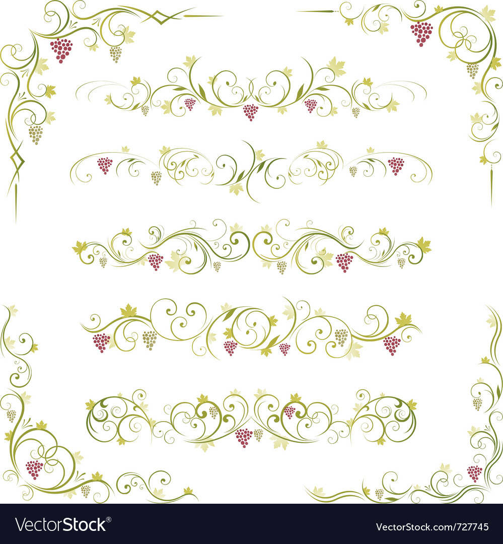 Wine design borders vector image