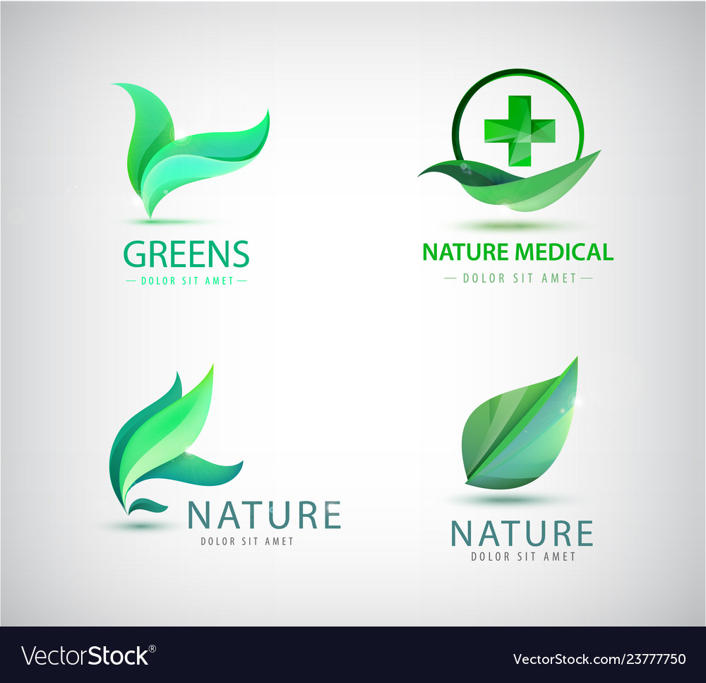 Abstract green leaf logo leaves icons