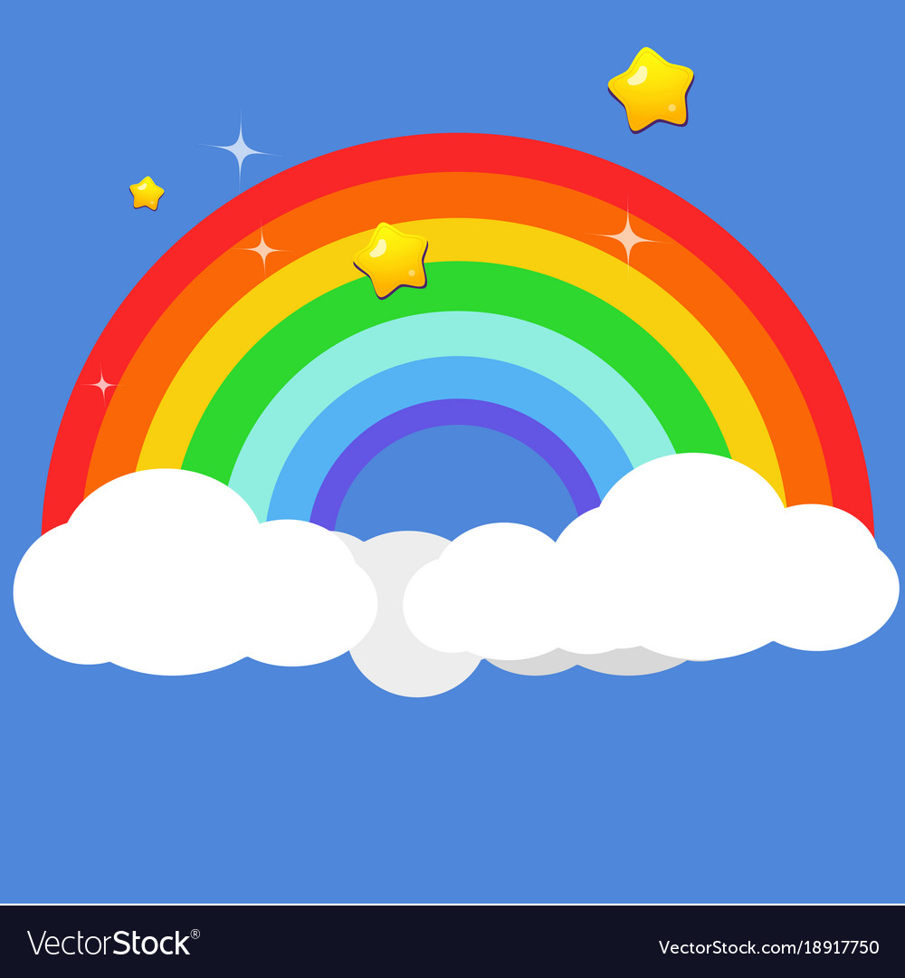 Beautiful rainbow on clouds with star at night