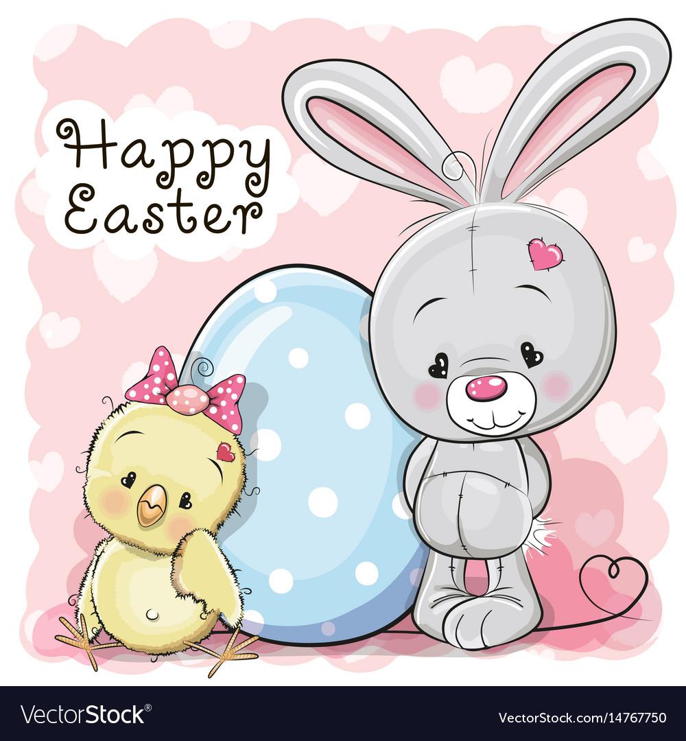 Cute cartoon chicken rabbit and egg