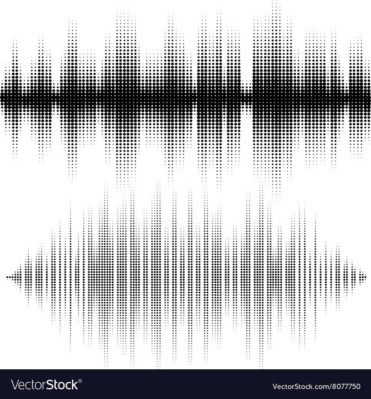 Halftone elements sound waves Music waveform