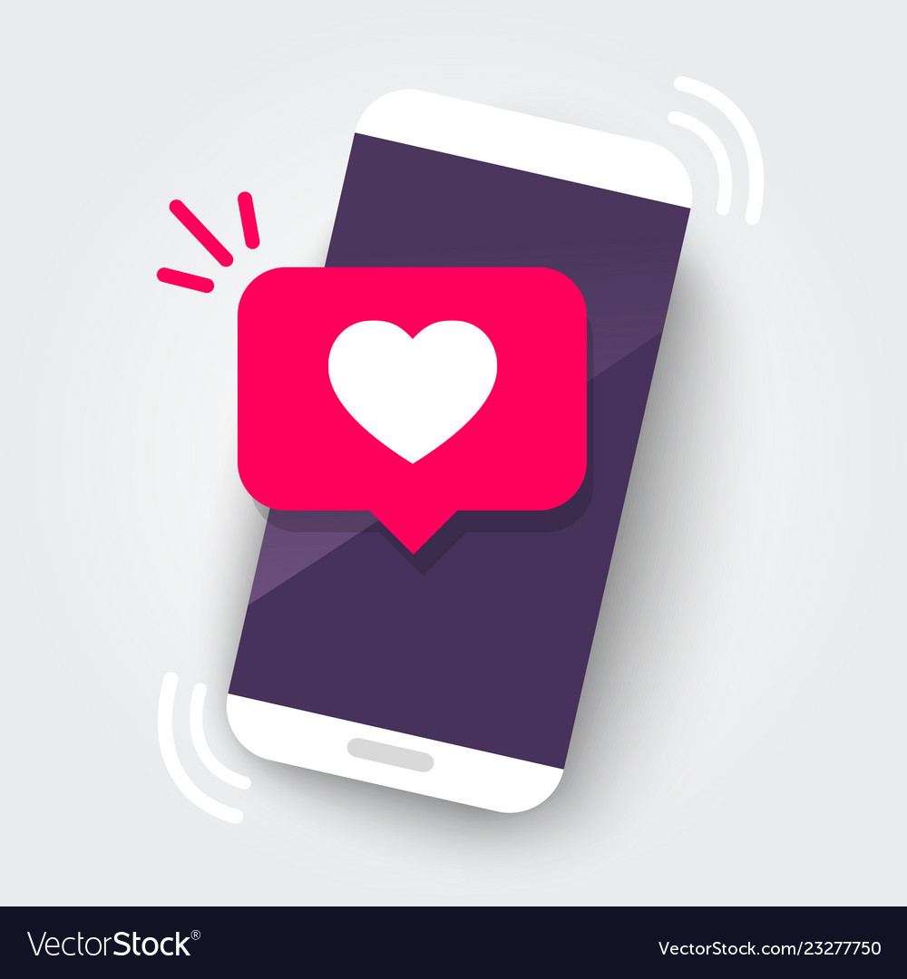 Martphone with heart emoji speech bubble