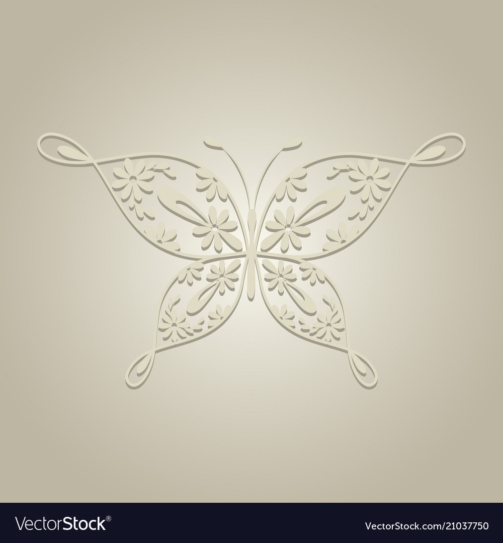 Paper butterfly on beige background