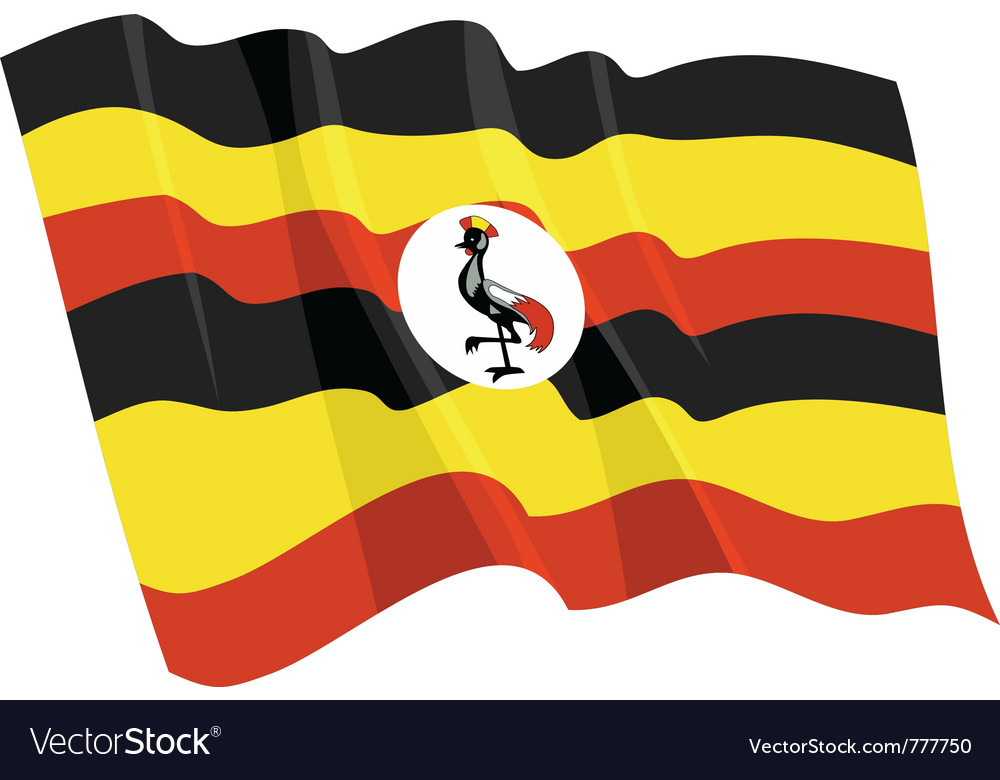 Political waving flag of uganda vector image