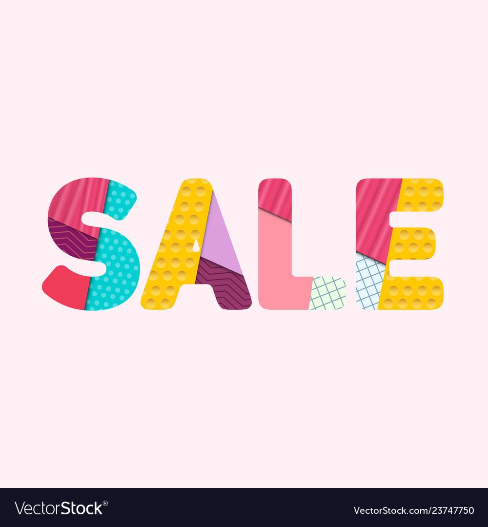 Sale s a l e paper cut colorful letters