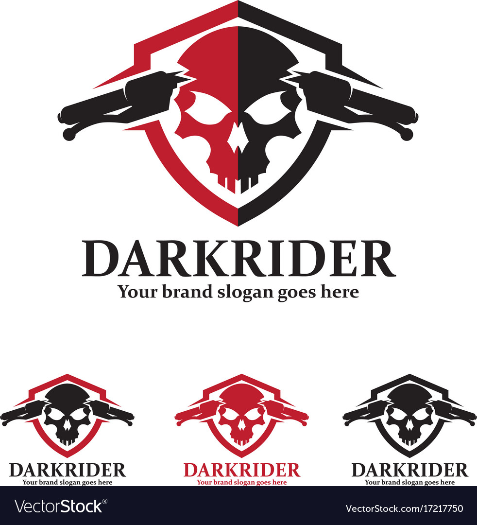 Skull motorcycle badge with shield and handlebars