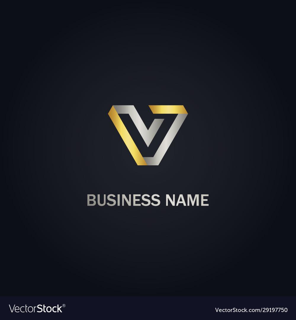 V initial company gold logo