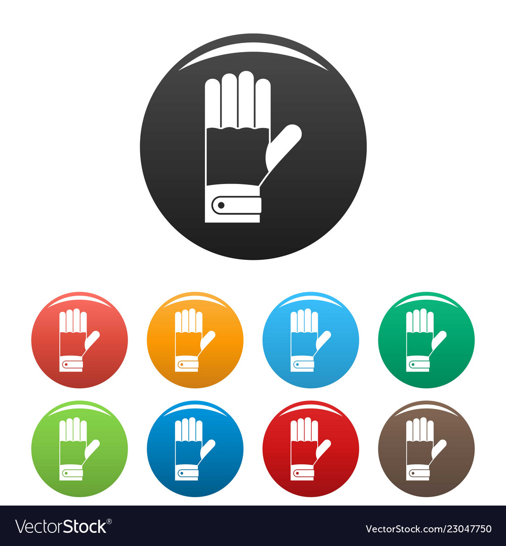 Winter gloves icons set color