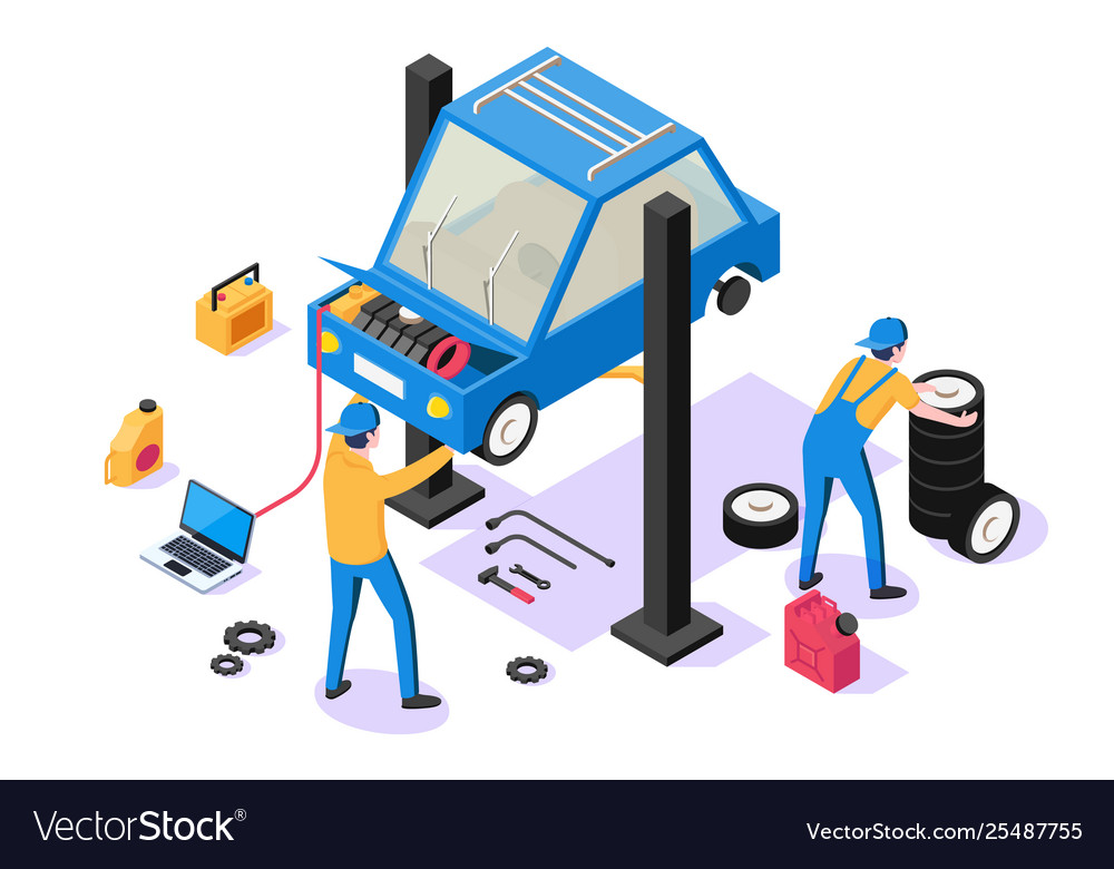3d isometric man with repair equipment on car