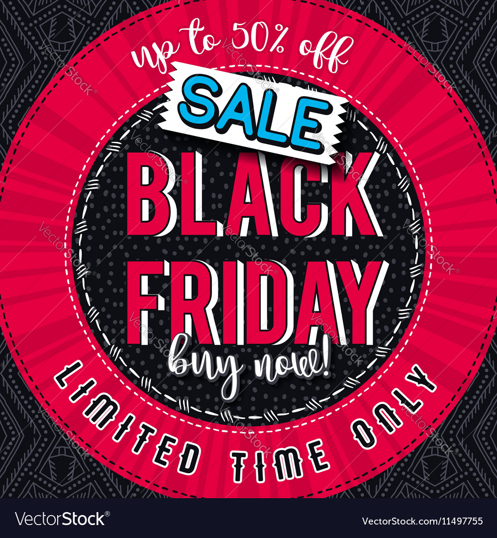 Black friday sale banner on color patterned backgr vector image